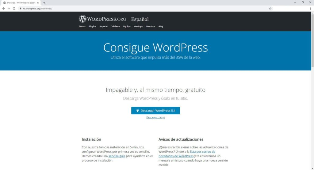 Página de descarga de WordPress