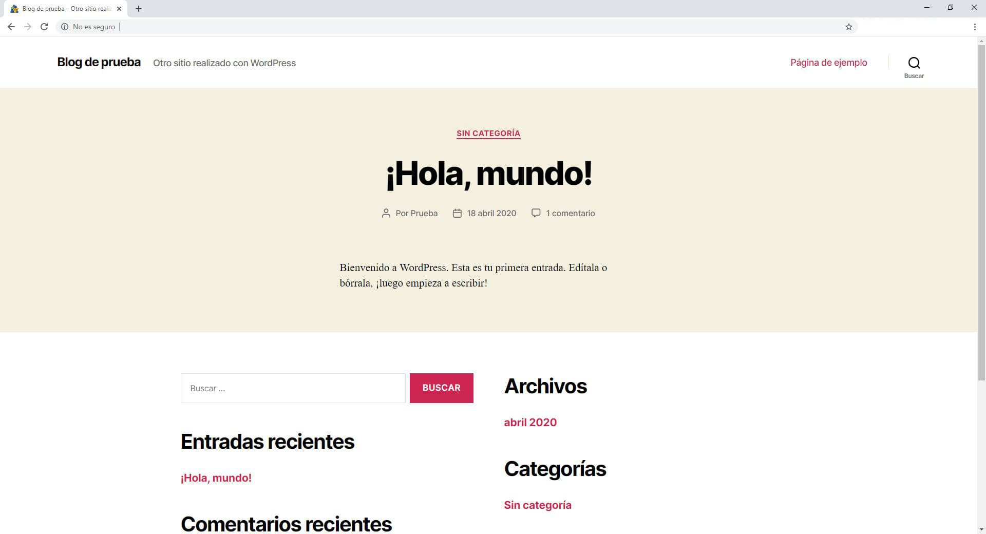 Blog creado con Wordpress