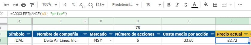 Función PRICE en Google Finance, aplicada en Google Spreadsheets.
